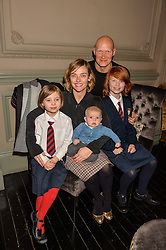 CAMILLA RUTHERFORD and DOMINIC BURNS with children MAUD, NANCY and BLAISE at an after show party following the opening of Peter Pan at the New Wimbledon Theatre, 93 The Broadway, London on 8th December 2015.