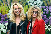 © Licensed to London News Pictures. 20/05/2013. London, UK Actress Jerry Hall (L) with  Suzanne Accosta. Press day at Chelsea Flower Show 2013. The centenary edition of the show attracts large number of visitors and is already sold out before opening day. Photo credit : Stephen Simpson/LNP