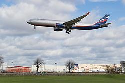 Heathrow Airport, London, March 28th 2016. An Aeroflot Airbus A 330 reg. VQ-BQZ about to land at London Heathrow.<br /> &copy;Paul Davey