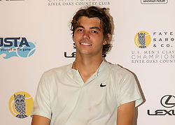 April 13, 2018 - Houston, TX, U.S. - HOUSTON, TX - APRIL 13:  Taylor Fritz of the United States speaks to the press after defeating Jack Sock of the United States during the Quarterfinal round of the Men's Clay Court Championship on April 13, 2018 at River Oaks Country Club in Houston, Texas.  (Photo by Leslie Plaza Johnson/Icon Sportswire) (Credit Image: © Leslie Plaza Johnson/Icon SMI via ZUMA Press)