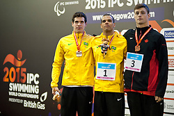RODRIGUES PAM, BRASIL Andre, STEIN Nathan BRA, CAN at 2015 IPC Swimming World Championships -  Men's 100m Freestyle S10