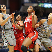 HARTFORD, CONNECTICUT- DECEMBER 19: Waiting for a rebound are, from left, Gabby Williams #15 of the Connecticut Huskies, Kelsey Mitchell #3 of the Ohio State Buckeyes, Stephanie Mavunga #1 of the Ohio State Buckeyes and Napheesa Collier #24 of the Connecticut Huskies in action during the UConn Huskies Vs Ohio State Buckeyes, NCAA Women's Basketball game on December 19th, 2016 at the XL Center, Hartford, Connecticut (Photo by Tim Clayton/Corbis via Getty Images)