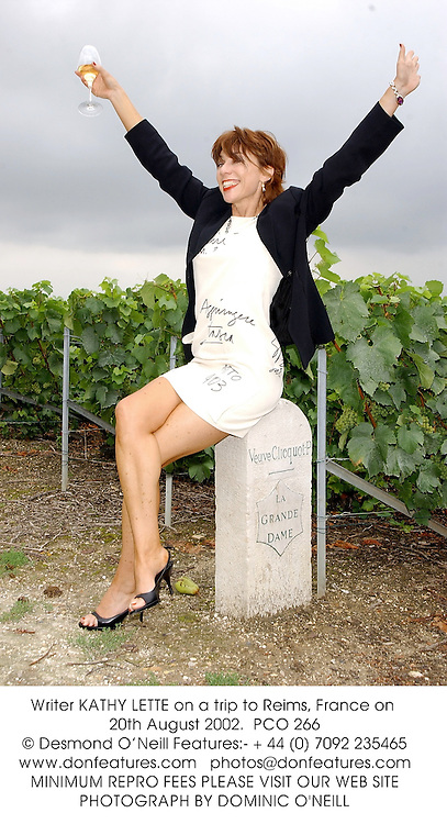 Writer KATHY LETTE on a trip to Reims, France on 20th August 2002.<br />PCO 266