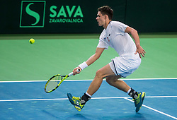 Kamil Majchrzak of Poland  during the Day 1 of Davis Cup 2018 Europe/Africa zone Group II between Slovenia and Poland, on February 3, 2018 in Arena Lukna, Maribor, Slovenia. Photo by Vid Ponikvar / Sportida