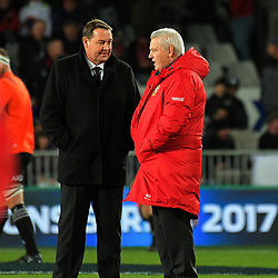 All Blacks coach Steve Hansen chats with Lions coach Warren Gatland before the 2017 DHL Lions Series rugby union match between the NZ All Blacks and British & Irish Lions at Eden Park in Auckland, New Zealand on Saturday, 24 June 2017. Photo: Dave Lintott / lintottphoto.co.nz