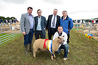 "30/6/2012. Minister for Horticulture at the Department of Agriculture, Food and the Marine, Shane McEntee TD, with Alex Evans UCD, IFA President John Bryan and Prof Gerry Boyle Teagasc behind Paul O Gorma from Ballyporeen in Tipperary and his prize winning Ram Lamb at Sheep 2012 ""The Way Forward""  at Teagasc, Mellows Campus, Athenry, Co. Galway Photo: Andrew Downes.."