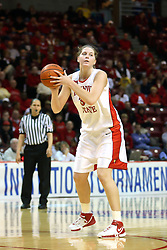 15 March 2007: Nicolle Lewis fakes a shot. The Owls of Rice university visited the Redbirds of Illinois State University at Redbird Arena in Normal Illinois for a round one WNIT game.