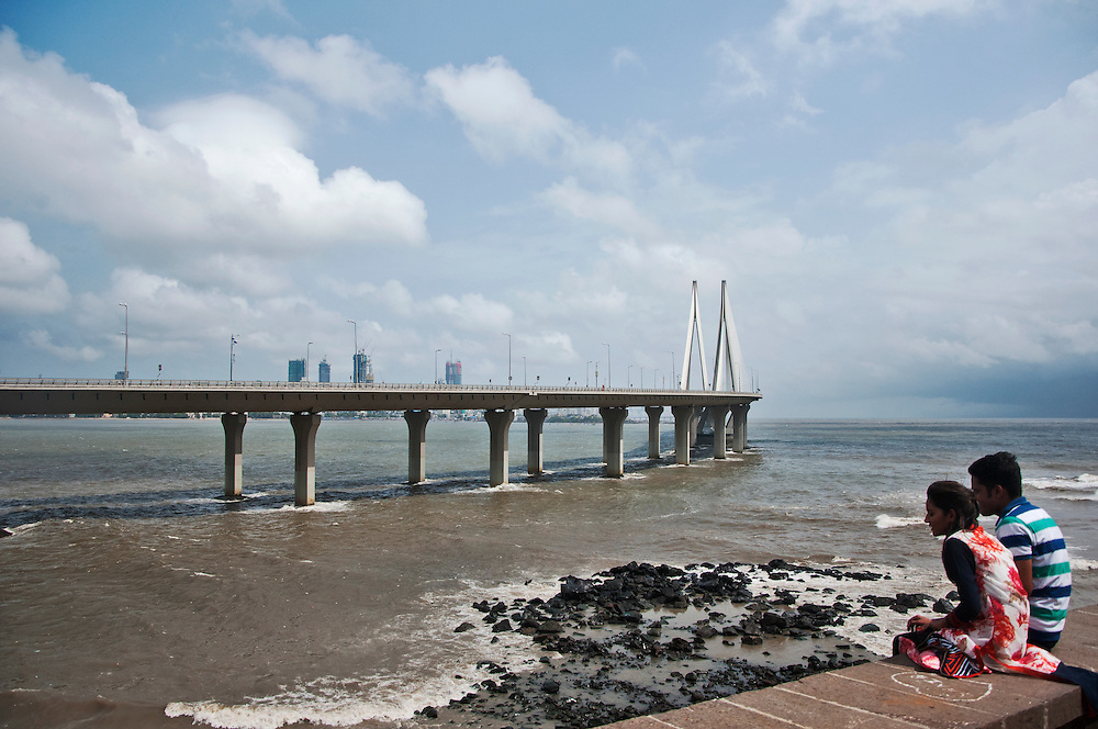 The view of the Bandra - Worli Sealink from Bandra Fort.