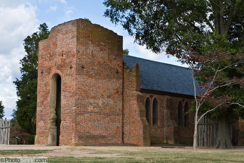 Jamestown Church, partially built in 1639 in Jamestown, Virginia, is one of the oldest surviving buildings built by Europeans in original thirteen colonies that became the United States of America. The current church tower was built 1639-1644. The rest of the original church was destroyed after abandonment in 1750 when a new church was built 3 miles away. In 1906, the National Society of the Colonial Dames of America built the present church on the cobblestone foundations of the older 1617 church and brick foundations of the 1639 church, visible through glass flooring. Dedicated in 1917, Historic Jamestowne Memorial Church is now part of Jamestown National Historic Site, and is owned by the Association for the Preservation of Virginia Antiquities.