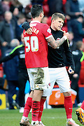 Charlton Athletic defender, Jorge Teixeira (50) celebrating with Charlton Athletic midfielder, Johann Berg Gudmundsson (7) during the Sky Bet Championship match between Charlton Athletic and Birmingham City at The Valley, London, England on 2 April 2016. Photo by Matthew Redman.