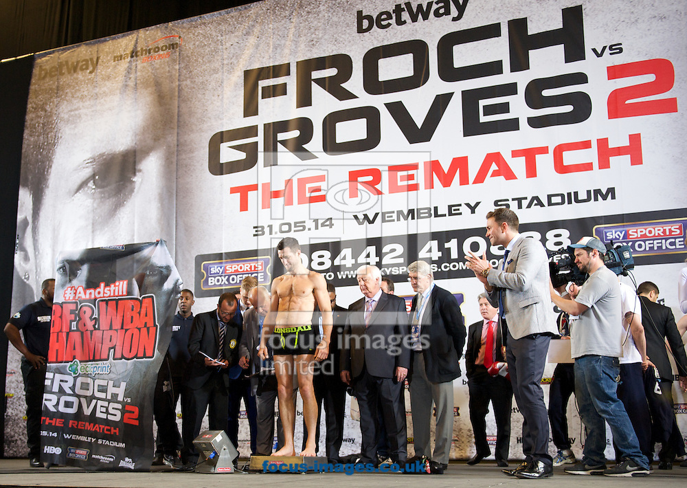 Pictures showing Carl Froch during the Froch v Groves Weigh In at Wembley Arena, London<br /> Picture by Alan Stanford/Focus Images Ltd +44 7915 056117<br /> 30/05/2014