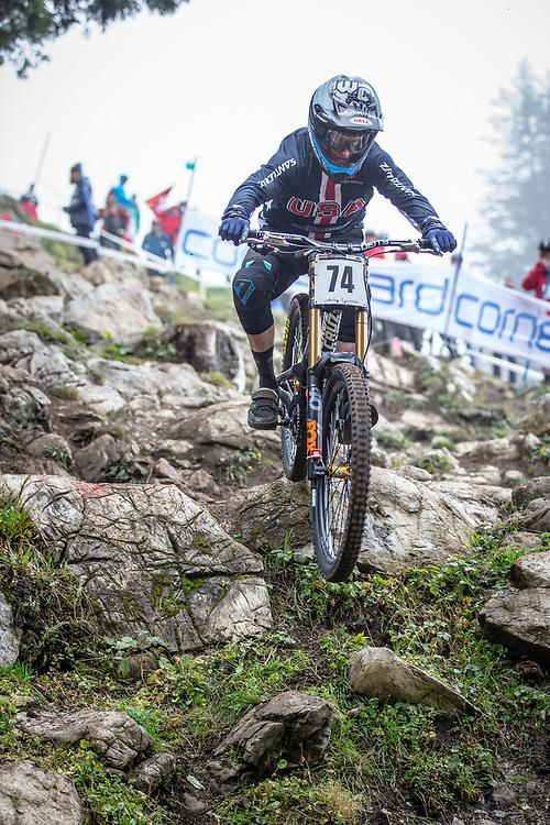 Max Morgan (USA) during the downhill qualifying runs at the 2018 UCI MTB World Championships - Lenzerheide, Switzerland