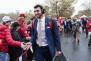 FAYETTEVILLE, AR - OCTOBER 31:  Brandon Allen #10 of the Arkansas Razorbacks greets fans during the walk into the stadium before a game against the UT Martin Skyhawks at Razorback Stadium on October 31, 2015 in Fayetteville, Arkansas.  (Photo by Wesley Hitt/Getty Images) *** Local Caption *** Brandon Allen