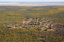 Aerial view of the Mowanjum Aboriginal Community outside Derby, Western Australia.