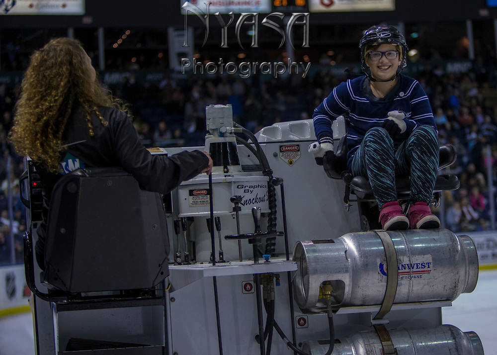 KELOWNA, CANADA - OCTOBER 13:  Orchard Park Zamboni Driver at the Kelowna Rockets game on October 13, 2017 at Prospera Place in Kelowna, British Columbia, Canada.  (Photo By Cindy Rogers/Nyasa Photography,  *** Local Caption ***