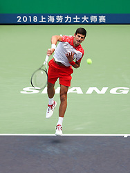 SHANGHAI, Oct. 12, 2018  Serbia's Novak Djokovic serves during the men's singles quarterfinal match against Kevin Anderson of South Africa at the Shanghai Masters tennis tournament on Oct. 12, 2018. Novak Djokovic won 2-0. (Credit Image: © Ding Ting/Xinhua via ZUMA Wire)