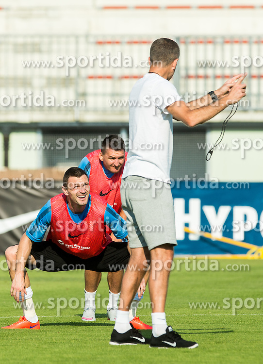 Milivoje Novakovic, Andraz Kirm, Srecko Katanec during practice session of Slovenian National Football Team before Euro 2016 Qualifications match against England, on June 10, 2015 in Kranj, Slovenia. Photo by Vid Ponikvar / Sportida