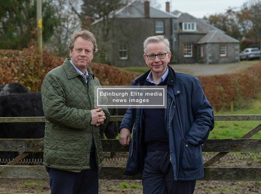 Pictured: Michael Gove, Alister Jack on the farm.<br /> <br /> Chancellor of the Duchy of Lancaster Michael Gove visited Grange Farm in Dumfries & Galloway with Conservative candidate Alister Jack during the election campaign to highlight the beefits of Brexit to the farming sector.<br /> <br /> <br /> © Dave Johnston / EEm