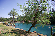 Israel, Galilee, Sachne aka Gan Hashlosha, the Park of the Three, is a natural spring and pools that were dammed up to be used for flour mills. Now these pools are used for sport and recreation