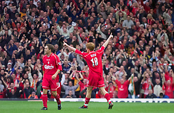 LIVERPOOL, ENGLAND - Sunday, November 4, 2001: Liverpool's John Arne Riise celebrates scoring the second goal against Manchester United during the Premiership match at Anfield. (Pic by David Rawcliffe/Propaganda)