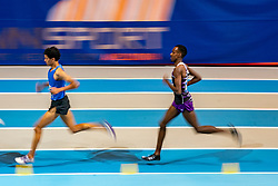 Mahadi Abdi Ali, Noah Schutte (L) in action on 3000 meter during the Dutch Indoor Athletics Championship on February 23, 2020 in Omnisport De Voorwaarts, Apeldoorn