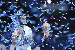 November 19, 2017 - London, England, United Kingdom - Grigor Dimitrov of Bulgaria celebrates victory following the singles final against David Goffin of Belgium during day eight of the 2017 Nitto ATP World Tour Finals at O2 Arena on November 19, 2017 in London, England. (Credit Image: © Alberto Pezzali/NurPhoto via ZUMA Press)