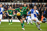Scunthorpe United Midfielder, Duane Holmes (19) with a shot at goal during the EFL Sky Bet League 1 match between Bristol Rovers and Scunthorpe United at the Memorial Stadium, Bristol, England on 25 February 2017. Photo by Adam Rivers.