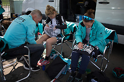 Drops Cycling Team riders pin on their race numbers before the second, 110.1km road race stage of Elsy Jacobs - a stage race in Luxembourg in Garnich on May 1, 2016.