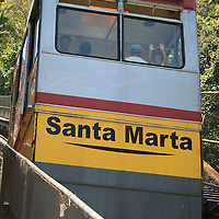 Public cable car that takes you to the top of Santa Marta Community.