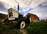 SCOTLAND - CIRCA APRIL 2016: Old tractor near Carbost in Skye an Island in Scotland