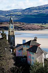 View of Portmeirion village with the Afon Dwyryd (River Dwyryd) beyond, Porthmadog, Gwynedd, Wales, UK