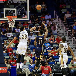 Oct 4, 2016; New Orleans, LA, USA;  New Orleans Pelicans forward Anthony Davis (23) blocks a shot by Indiana Pacers forward Thaddeus Young (21) during the second half of a game at the Smoothie King Center. The Pacers defeated the Pelicans 113-96. Mandatory Credit: Derick E. Hingle-USA TODAY Sports