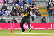 Jamie Overton of Somerset bowling during the Vitality T20 Finals Day Semi Final 2018 match between Worcestershire Rapids and Lancashire Lightning at Edgbaston, Birmingham, United Kingdom on 15 September 2018.