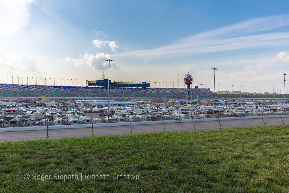 track and grandstands, Kansas Speedway 1.5 mile tri-oval suitable for all types of racing.