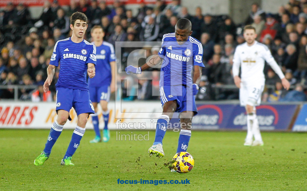 Ramires of Chelsea scuffs a shot during the Barclays Premier League match at the Liberty Stadium, Swansea<br /> Picture by Mike Griffiths/Focus Images Ltd +44 7766 223933<br /> 17/01/2015