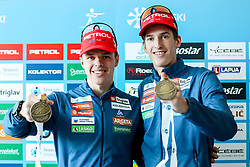Alex Cisar and Lovro Planko with medal at press conference of Slovenian Ski association after IBU Youth & Junior World Championships Biathlon 2020 Lenzerheide, on February 4, 2020 in Zavarovalnica Triglav, Ljubljana, Slovenia. Photo by Matic Klansek Velej / Sportida