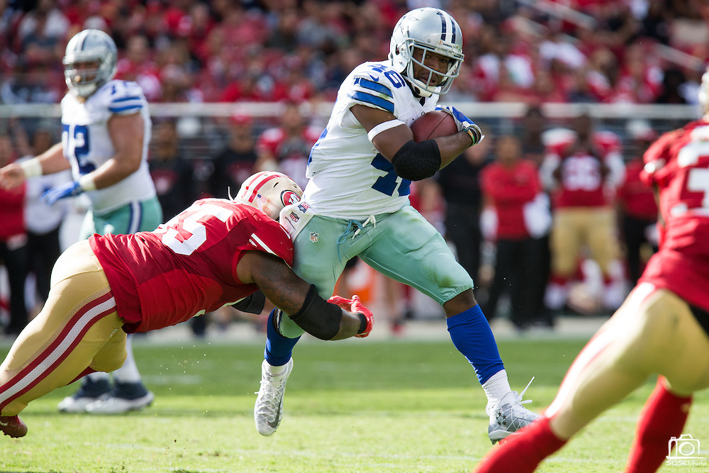 Dallas Cowboys linebacker James Morris (46) carries the ball against the San Francisco 49ers at Levis Stadium in Santa Clara, Calif., on October 2, 2016. (Stan Olszewski/Special to S.F. Examiner)