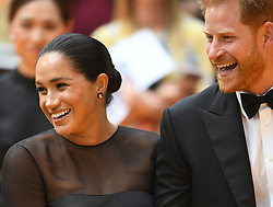 Prince Harry, Duke of Sussex and Meghan Markle, Duchess of Sussex, attend the European Premiere of The Lion King at the Odeon Leicester Square, London, UK, on the 14th July 2019. 14 Jul 2019 Pictured: Meghan Markle, Duchess of Sussex, Prince Harry, Duke of Sussex. Photo credit: James Whatling / MEGA TheMegaAgency.com +1 888 505 6342