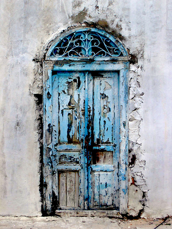 Old blue door near Tunis, Tunisia.