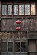 Traditional home and lanterns along Shantang canal in Suzhou, China.
