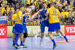 Krzysztof Lijewski of PGE Vive Kielce and Matic Suholeznik of RK Celje Pivovarna Lasko during handball match between RK Celje Pivovarna Lasko and PGE Vive Kielce in Group Phase A+B of VELUX EHF Champions League, on September 30, 2017 in Arena Zlatorog, Celje, Slovenia. Photo by Urban Urbanc / Sportida