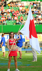 15.07.2011, Ernst Happel Stadion, Wien, AUT, American Football WM 2011, Japan (JAP) vs Mexico (MEX), im Bild cheerleader with japanese flag // during the American Football World Championship 2011 game, Japan vs Mexico, at Ernst Happel Stadion, Wien, 2011-07-15, EXPA Pictures © 2011, PhotoCredit: EXPA/ T. Haumer