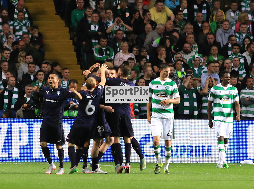 Malmö FF players celebrate Jo Inge-Berget away goal during the Glasgow Celtic FC v Malmö FF Champions League Play-Off  19th August 2015 ©Edward Linton | SportPix.org.uk