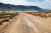 Dirt track leading to Caleta de Sebo village on Graciosa island, Lanzarote, Canary Islands, Spain