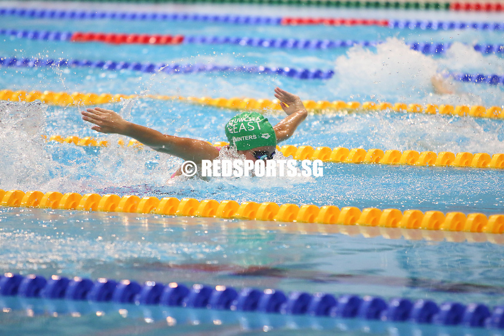 Georgina Winters, 14, in action during the women's 50m butterfly race. She finished second in the 13-14 age group with a timing of 29.45s. (Photo © Chua Kai Yun/Red Sports)