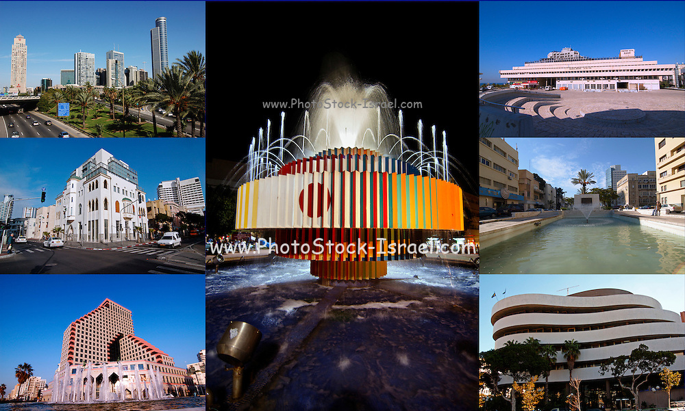 Tel Aviv, Israel, 7 image collage of various landmarks in the city