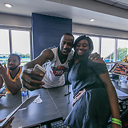 Actor Jackie Long (25) takes a selfie with a fan after signing autographs prior to The 15th annual Duffy's Hope Celebrity Basketball Game Saturday, August 05, 2017, at The Bob Carpenter Sports Convocation Center, in Newark, DEL.     <br />
