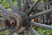 Vintage wagonwheel  in the historic gold mining ghost town of Custer City, Idaho. PLEASE CONTACT US FOR DIGITAL DOWNLOAD AND PRICING.