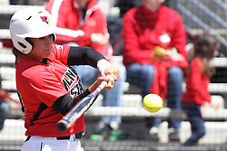 26 April 2015:   At bat is Jordan de los Reyes during an NCAA Missouri Valley Conference (MVC) Championship series women's softball game between the Loyola Ramblers and the Illinois State Redbirds on Marian Kneer Field in Normal IL