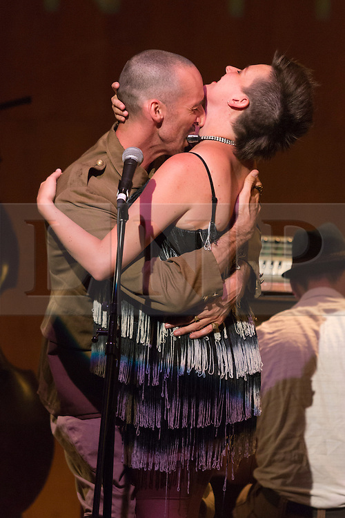 """© Licensed to London News Pictures. 29/07/2014. London, England. Pictured: Simon Drouin and Danya Ortmann. L'Orchestre d'Hommes-Orchestres (LODHO) return to the Purcell Room at the Southbank Centre with the UK Premiere of """"Shattered Cabaret: The Songs of Kurt Weill"""". Canadian group LODHO create a work at the crossroads of theatre, cabaret, visual art and performance. Photo credit: Bettina Strenske/LNP"""